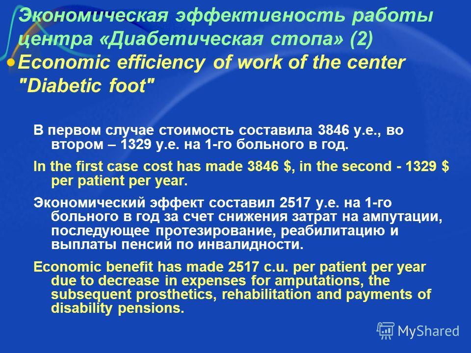 Экономическая эффективность работы центра «Диабетическая стопа» (2) Economic efficiency of work of the center