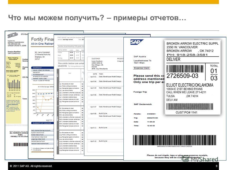 ©2011 SAP AG. All rights reserved.9 Что мы можем получить? – примеры отчетов…