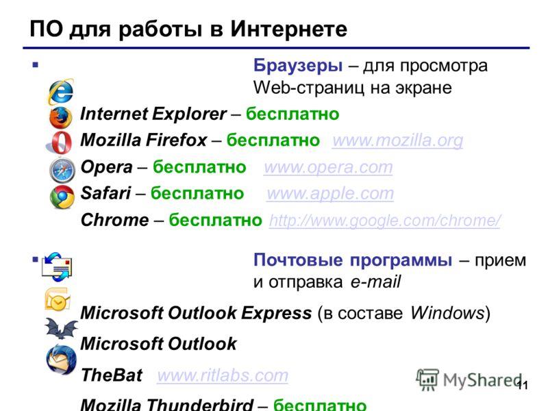 11 ПО для работы в Интернете Браузеры – для просмотра Web-страниц на экране Internet Explorer – бесплатно Mozilla Firefox – бесплатно www.mozilla.orgwww.mozilla.org Opera – бесплатно www.opera.comwww.opera.com Safari – бесплатно www.apple.comwww.appl