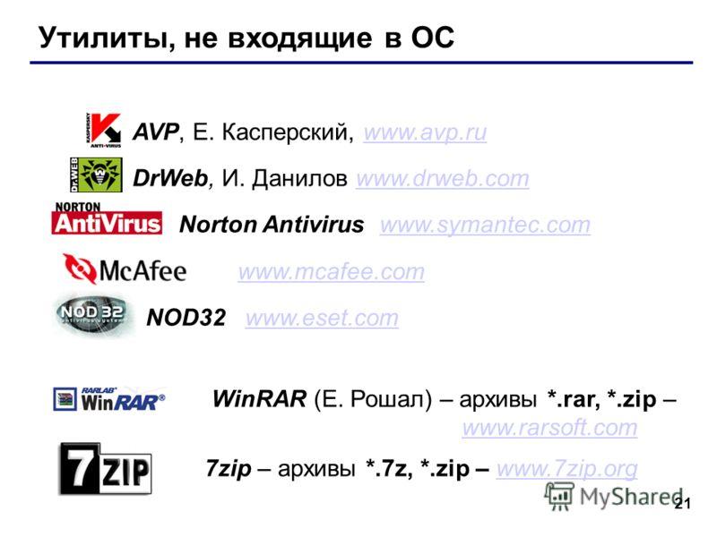 21 Утилиты, не входящие в ОС AVP, Е. Касперский, www.avp.ruwww.avp.ru DrWeb, И. Данилов www.drweb.comwww.drweb.com Norton Antivirus www.symantec.comwww.symantec.com www.mcafee.com NOD32 www.eset.comwww.eset.com WinRAR (Е. Рошал) – архивы *.rar, *.zip