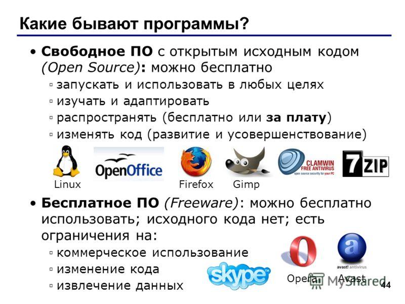 44 Какие бывают программы? Свободное ПО с открытым исходным кодом (Open Source): можно бесплатно запускать и использовать в любых целях изучать и адаптировать распространять (бесплатно или за плату) изменять код (развитие и усовершенствование) Беспла