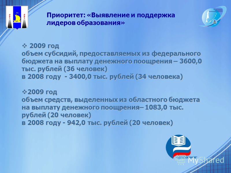 2009 год 2009 год объем субсидий, предоставляемых из федерального бюджета на выплату денежного поощрения – 3600,0 тыс. рублей (36 человек) в 2008 году - 3400,0 тыс. рублей (34 человека) 2009 год 2009 год объем средств, выделенных из областного бюджет