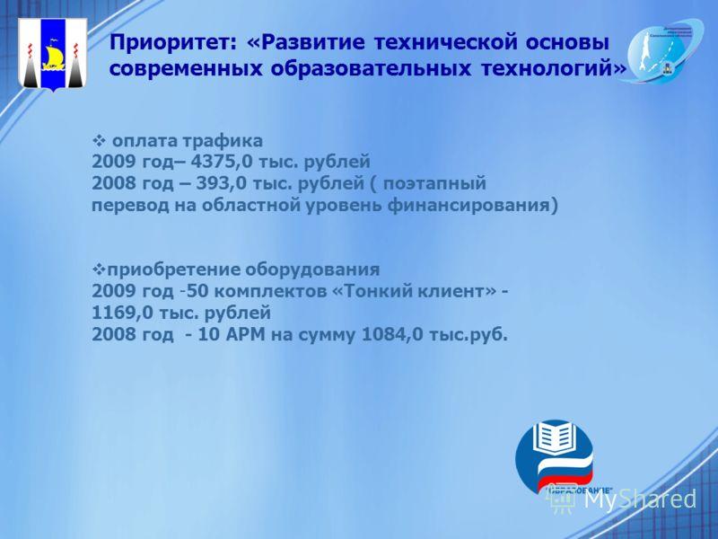 Приоритет: «Развитие технической основы современных образовательных технологий» оплата трафика 2009 год– 4375,0 тыс. рублей 2008 год – 393,0 тыс. рублей ( поэтапный перевод на областной уровень финансирования) приобретение оборудования 2009 год -50 к