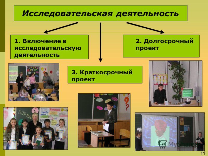 Исследовательская деятельность 1. Включение в исследовательскую деятельность 3. Краткосрочный проект 2. Долгосрочный проект 11