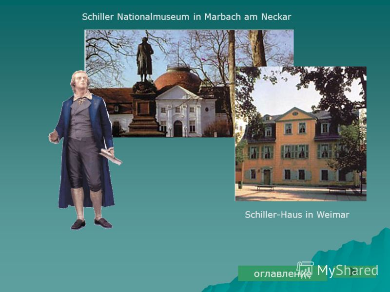 Schiller Nationalmuseum in Marbach am Neckar Schiller-Haus in Weimar оглавление