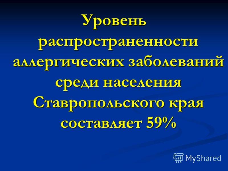 Уровень распространенности аллергических заболеваний среди населения Ставропольского края составляет 59%