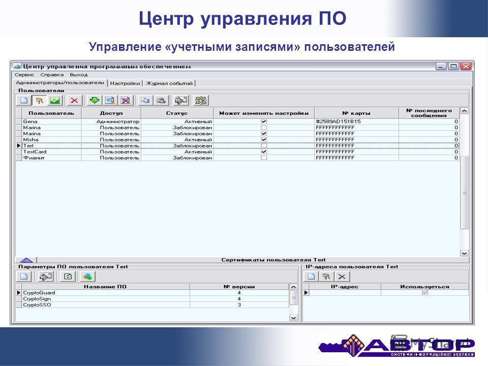 Центр управления ПО Управление «учетными записями» пользователей