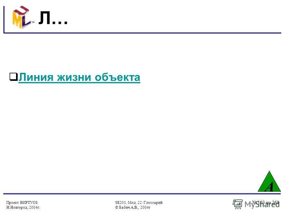 Проект ВИРТУОЗ Н.Новгород, 2004г. SE201. Мод. 22: Глоссарий © Бабич А,В,, 2004г 103 из 268 Л… А Линия жизни объекта