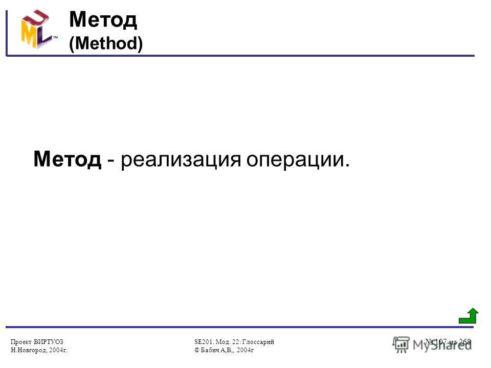 Проект ВИРТУОЗ Н.Новгород, 2004г. SE201. Мод. 22: Глоссарий © Бабич А,В,, 2004г 107 из 268 Метод (Method) Метод - реализация операции.
