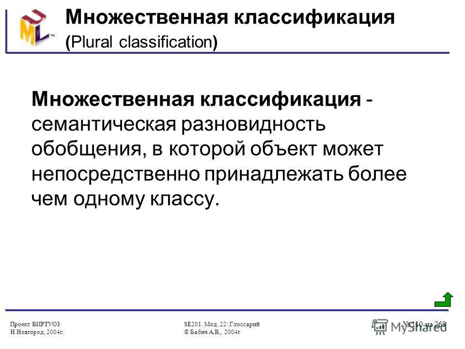 Проект ВИРТУОЗ Н.Новгород, 2004г. SE201. Мод. 22: Глоссарий © Бабич А,В,, 2004г 110 из 268 Множественная классификация (Plural classification) Множественная классификация - семантическая разновидность обобщения, в которой объект может непосредственно