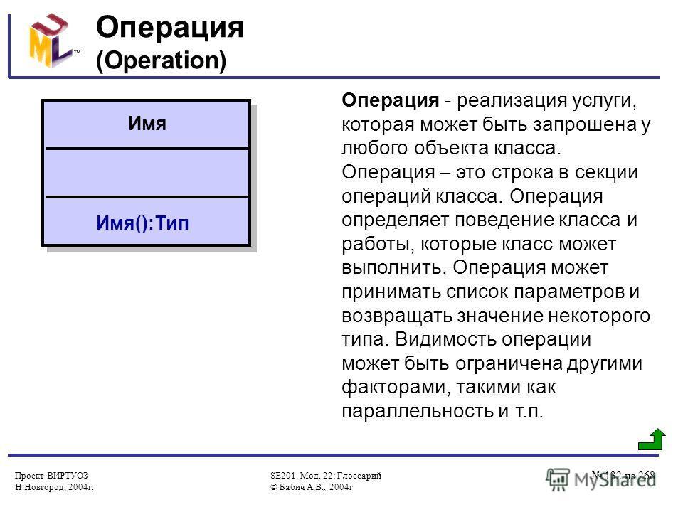 Проект ВИРТУОЗ Н.Новгород, 2004г. SE201. Мод. 22: Глоссарий © Бабич А,В,, 2004г 132 из 268 Операция (Operation) Операция - реализация услуги, которая может быть запрошена у любого объекта класса. Операция – это строка в секции операций класса. Операц