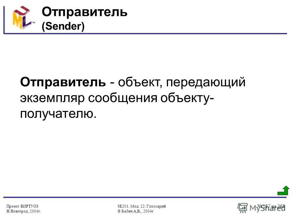 Проект ВИРТУОЗ Н.Новгород, 2004г. SE201. Мод. 22: Глоссарий © Бабич А,В,, 2004г 137 из 268 Отправитель (Sender) Отправитель - объект, передающий экземпляр сообщения объекту- получателю.
