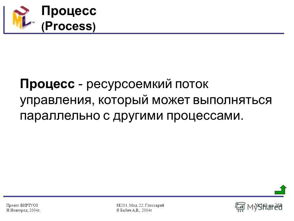 Проект ВИРТУОЗ Н.Новгород, 2004г. SE201. Мод. 22: Глоссарий © Бабич А,В,, 2004г 148 из 268 Процесс ( Process ) Процесс - ресурсоемкий поток управления, который может выполняться параллельно с другими процессами.