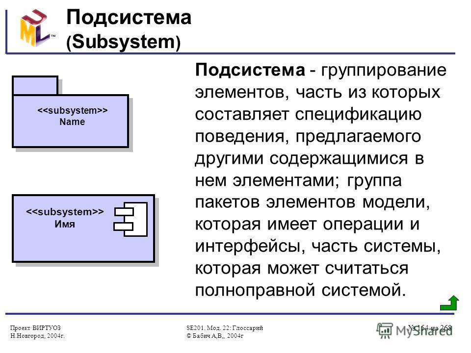 Проект ВИРТУОЗ Н.Новгород, 2004г. SE201. Мод. 22: Глоссарий © Бабич А,В,, 2004г 154 из 268 Подсистема ( Subsystem ) Подсистема - группирование элементов, часть из которых составляет спецификацию поведения, предлагаемого другими содержащимися в нем эл