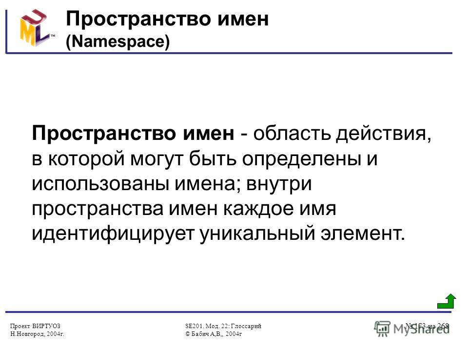 Проект ВИРТУОЗ Н.Новгород, 2004г. SE201. Мод. 22: Глоссарий © Бабич А,В,, 2004г 173 из 268 Пространство имен (Namespace) Пространство имен - область действия, в которой могут быть определены и использованы имена; внутри пространства имен каждое имя и