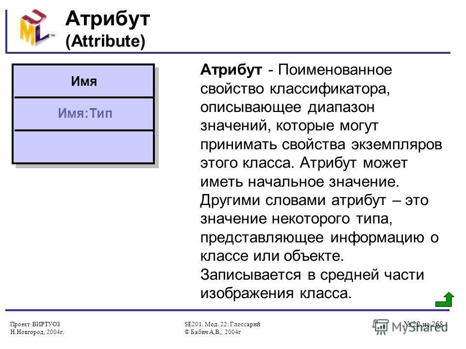 Проект ВИРТУОЗ Н.Новгород, 2004г. SE201. Мод. 22: Глоссарий © Бабич А,В,, 2004г 22 из 268 Атрибут (Attribute) Атрибут - Поименованное свойство классификатора, описывающее диапазон значений, которые могут принимать свойства экземпляров этого класса. А