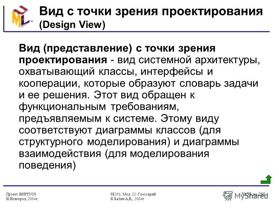 Проект ВИРТУОЗ Н.Новгород, 2004г. SE201. Мод. 22: Глоссарий © Бабич А,В,, 2004г 33 из 268 Вид с точки зрения проектирования (Design View) Вид (представление) с точки зрения проектирования - вид системной архитектуры, охватывающий классы, интерфейсы и
