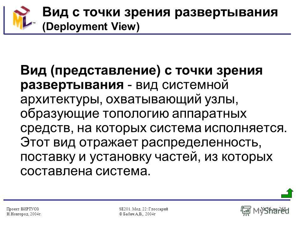 Проект ВИРТУОЗ Н.Новгород, 2004г. SE201. Мод. 22: Глоссарий © Бабич А,В,, 2004г 35 из 268 Вид с точки зрения развертывания (Deployment View) Вид (представление) с точки зрения развертывания - вид системной архитектуры, охватывающий узлы, образующие т