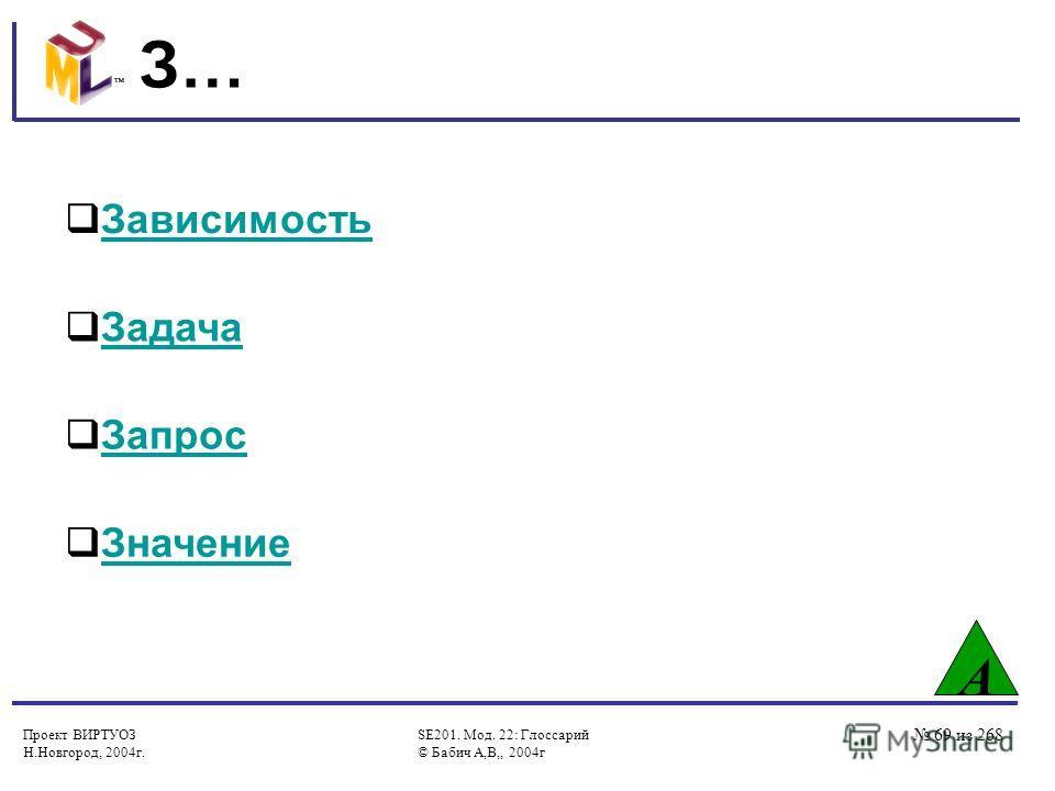Проект ВИРТУОЗ Н.Новгород, 2004г. SE201. Мод. 22: Глоссарий © Бабич А,В,, 2004г 69 из 268 З… А Зависимость Задача Запрос Значение
