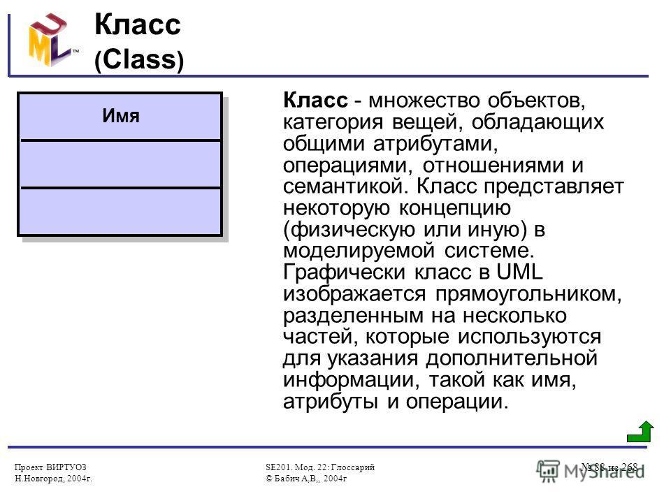 Проект ВИРТУОЗ Н.Новгород, 2004г. SE201. Мод. 22: Глоссарий © Бабич А,В,, 2004г 88 из 268 Класс ( Class ) Класс - множество объектов, категория вещей, обладающих общими атрибутами, операциями, отношениями и семантикой. Класс представляет некоторую ко