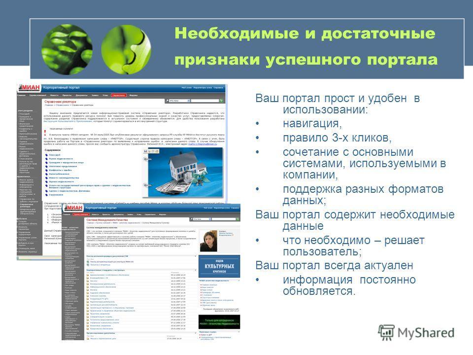 Необходимые и достаточные признаки успешного портала Ваш портал прост и удобен в использовании: навигация, правило 3-х кликов, сочетание с основными системами, используемыми в компании, поддержка разных форматов данных; Ваш портал содержит необходимы