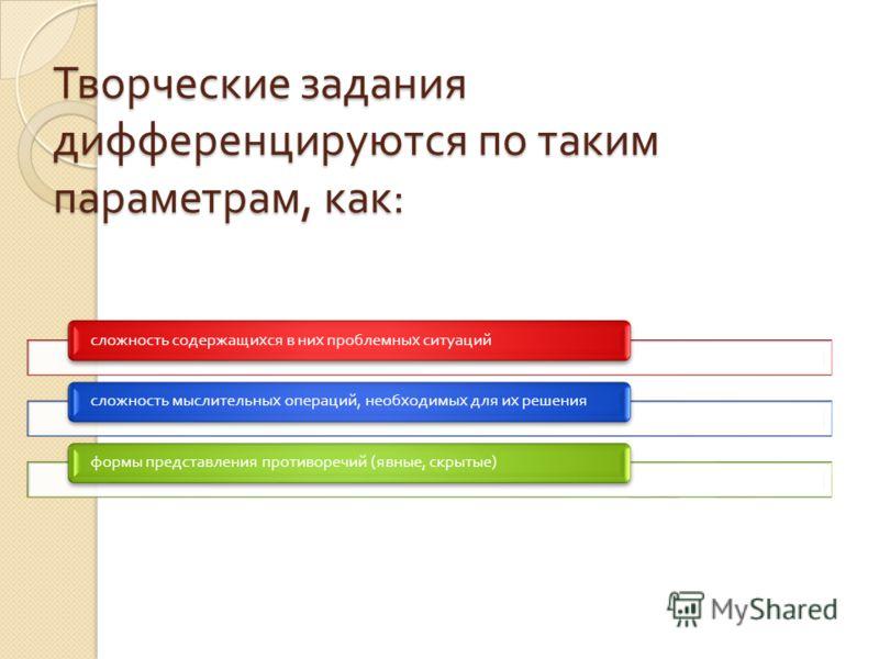 Творческие задания дифференцируются по таким параметрам, как : сложность содержащихся в них проблемных ситуацийсложность мыслительных операций, необходимых для их решенияформы представления противоречий ( явные, скрытые )