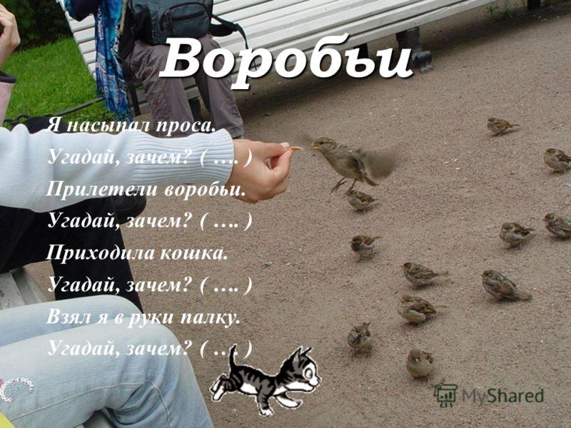 Воробьи Я насыпал проса. Угадай, зачем? ( …. ) Прилетели воробьи. Угадай, зачем? ( …. ) Приходила кошка. Угадай, зачем? ( …. ) Взял я в руки палку. Угадай, зачем? ( …. )