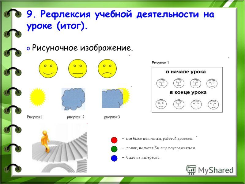 9. Рефлексия учебной деятельности на уроке (итог). o Рисуночное изображение.