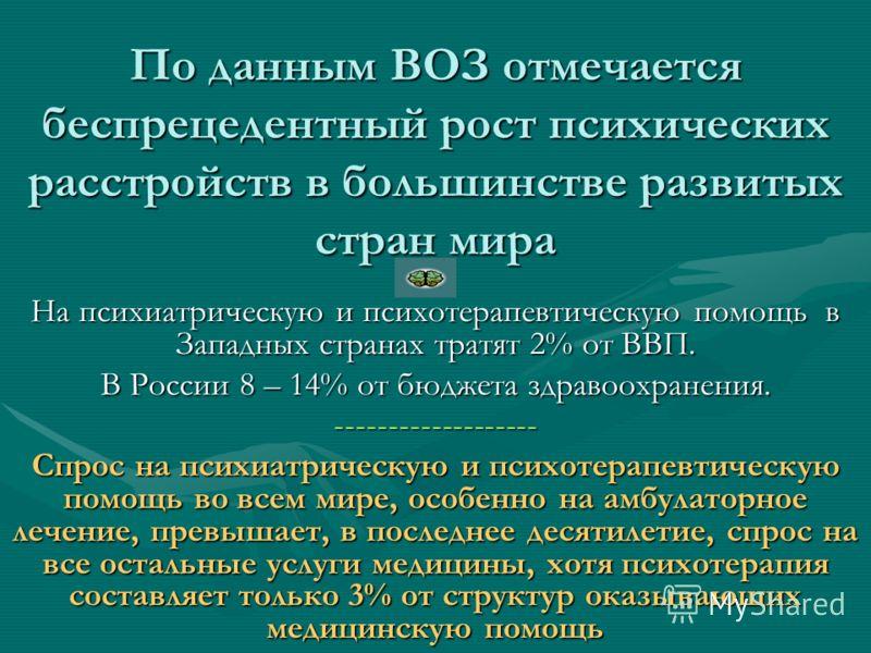 По данным ВОЗ отмечается беспрецедентный рост психических расстройств в большинстве развитых стран мира На психиатрическую и психотерапевтическую помощь в Западных странах тратят 2% от ВВП. В России 8 – 14% от бюджета здравоохранения. ---------------