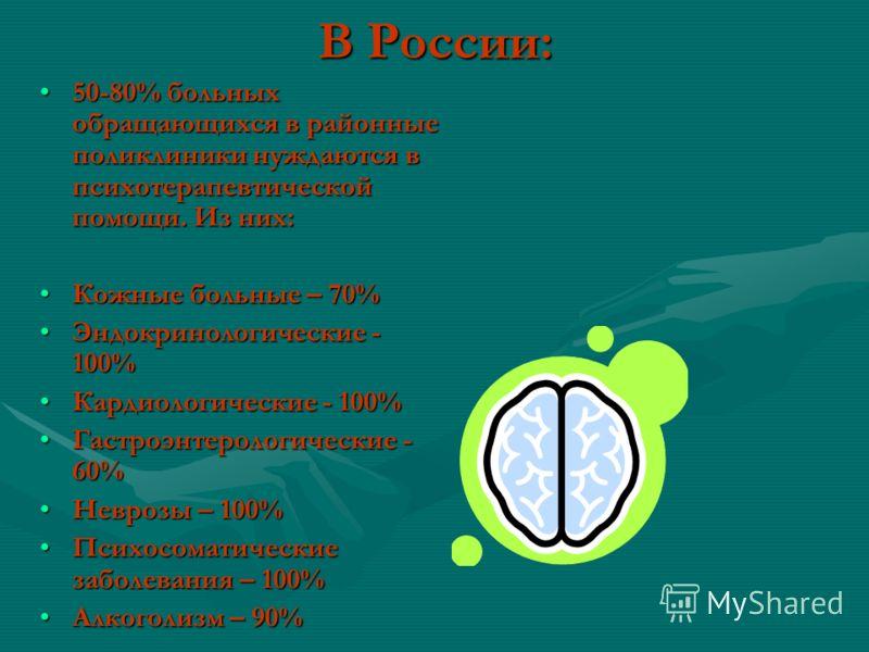 В России: 50-80% больных обращающихся в районные поликлиники нуждаются в психотерапевтической помощи. Из них:50-80% больных обращающихся в районные поликлиники нуждаются в психотерапевтической помощи. Из них: Кожные больные – 70%Кожные больные – 70%
