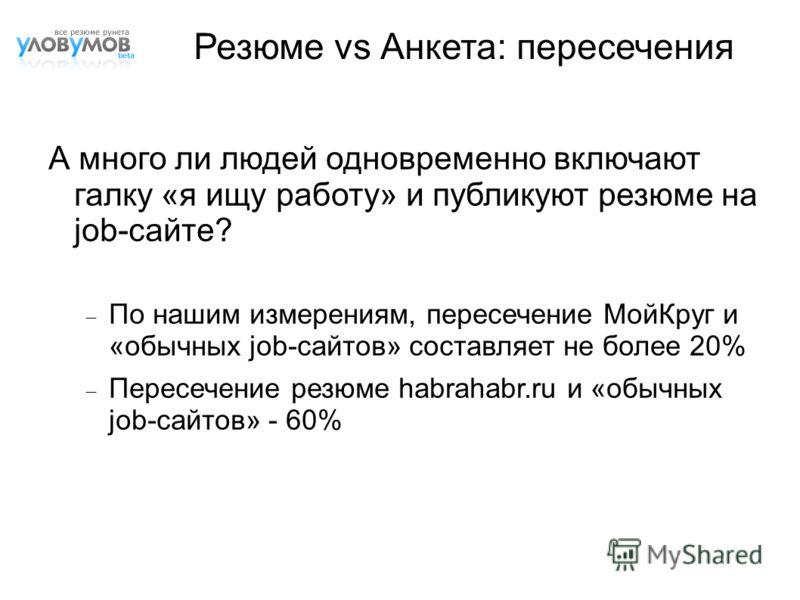 А много ли людей одновременно включают галку «я ищу работу» и публикуют резюме на job-сайте? По нашим измерениям, пересечение МойКруг и «обычных job-сайтов» составляет не более 20% Пересечение резюме habrahabr.ru и «обычных job-сайтов» - 60% Резюме v
