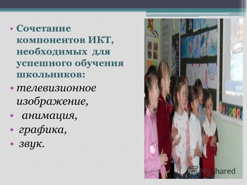 Сочетание компонентов ИКТ, необходимых для успешного обучения школьников: телевизионное изображение, анимация, графика, звук.