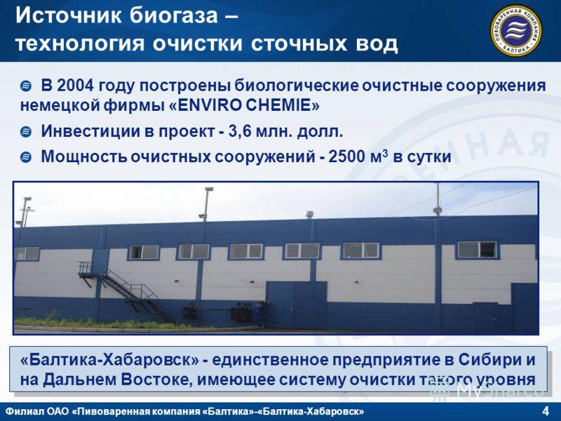 4 Филиал ОАО «Пивоваренная компания «Балтика»-«Балтика-Хабаровск» Источник биогаза – технология очистки сточных вод В 2004 году построены биологические очистные сооружения немецкой фирмы «ENVIRO CHEMIE» Инвестиции в проект - 3,6 млн. долл. Мощность о