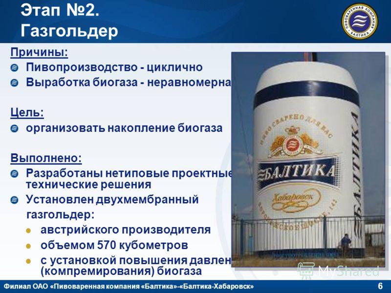 6 Филиал ОАО «Пивоваренная компания «Балтика»-«Балтика-Хабаровск» Этап 2. Газгольдер Причины: Пивопроизводство - циклично Выработка биогаза - неравномерна Цель: организовать накопление биогаза Выполнено: Разработаны нетиповые проектные технические ре