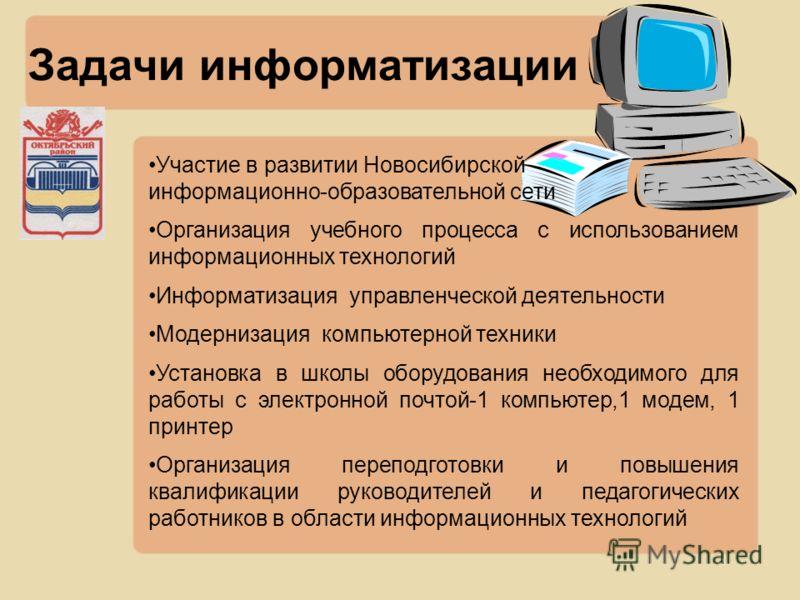 Задачи информатизации Участие в развитии Новосибирской информационно-образовательной сети Организация учебного процесса с использованием информационных технологий Информатизация управленческой деятельности Модернизация компьютерной техники Установка