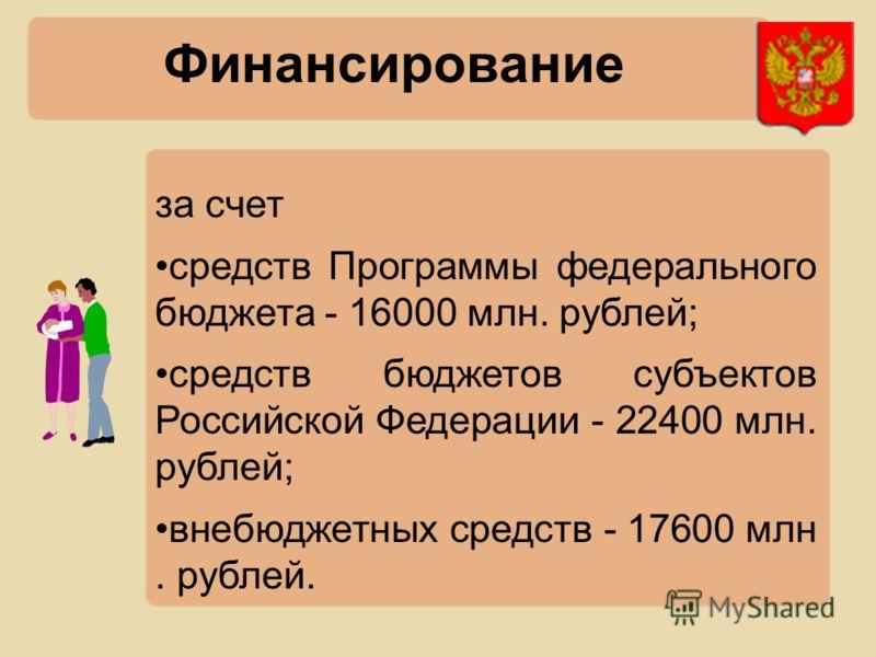Финансирование за счет средств Программы федерального бюджета - 16000 млн. рублей; средств бюджетов субъектов Российской Федерации - 22400 млн. рублей; внебюджетных средств - 17600 млн. рублей.