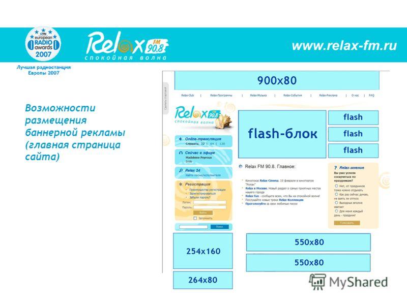Возможности размещения баннерной рекламы (главная страница сайта) www.relax-fm.ru