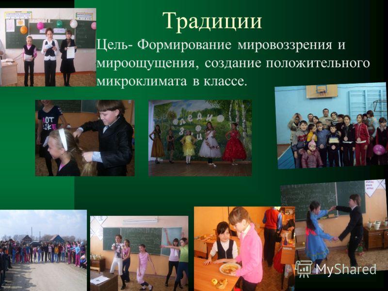 Традиции Цель- Формирование мировоззрения и мироощущения, создание положительного микроклимата в классе.