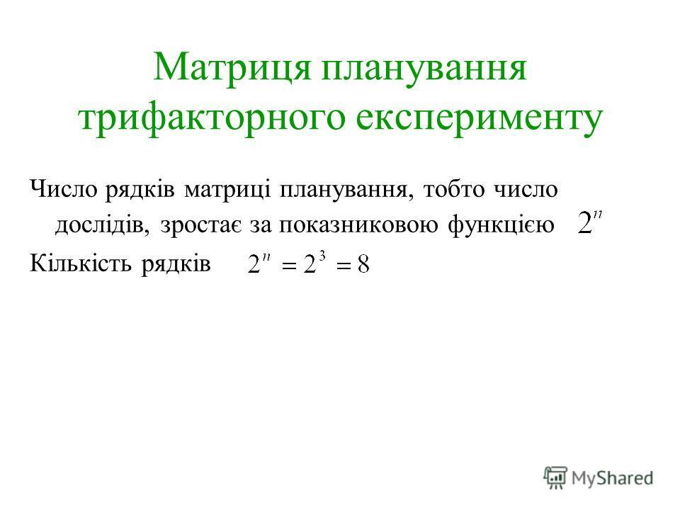 Матриця планування трифакторного експерименту Число рядків матриці планування, тобто число дослідів, зростає за показниковою функцією Кількість рядків