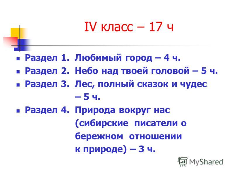 IV класс – 17 ч Раздел 1. Любимый город – 4 ч. Раздел 2. Небо над твоей головой – 5 ч. Раздел 3. Лес, полный сказок и чудес – 5 ч. Раздел 4. Природа вокруг нас (сибирские писатели о бережном отношении к природе) – 3 ч.