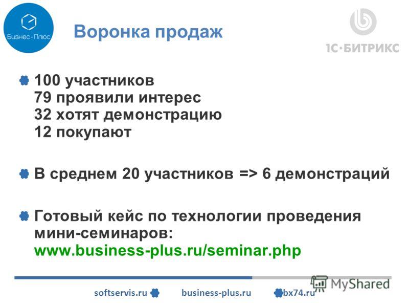 softservis.ru business-plus.ru bx74.ru Воронка продаж 100 участников 79 проявили интерес 32 хотят демонстрацию 12 покупают В среднем 20 участников => 6 демонстраций Готовый кейс по технологии проведения мини-семинаров: www.business-plus.ru/seminar.ph