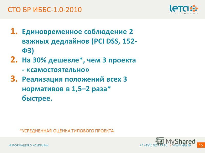 ИНФОРМАЦИЯ О КОМПАНИИ 15 СТО БР ИББС-1.0-2010 1. Единовременное соблюдение 2 важных дедлайнов (PCI DSS, 152- ФЗ) 2. На 30% дешевле*, чем 3 проекта - «самостоятельно» 3. Реализация положений всех 3 нормативов в 1,5–2 раза* быстрее. +7 (495) 921 1410 /