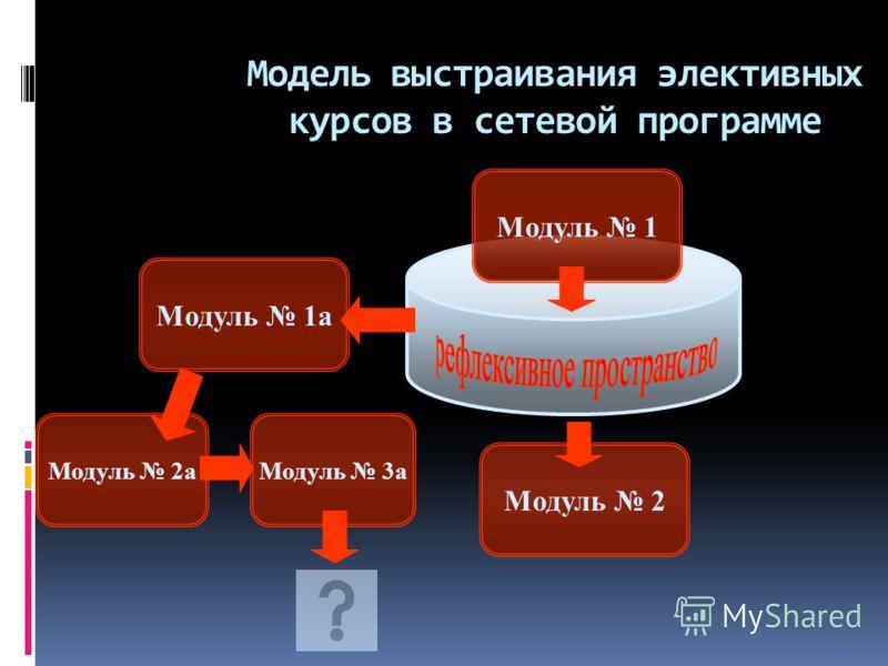 Модель выстраивания элективных курсов в сетевой программе Модуль 1 Модуль 2 Модуль 1а Модуль 2аМодуль 3а
