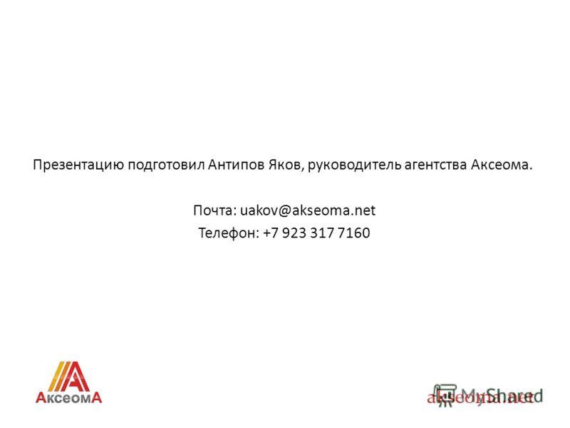 Презентацию подготовил Антипов Яков, руководитель агентства Аксеома. Почта: uakov@akseoma.net Телефон: +7 923 317 7160