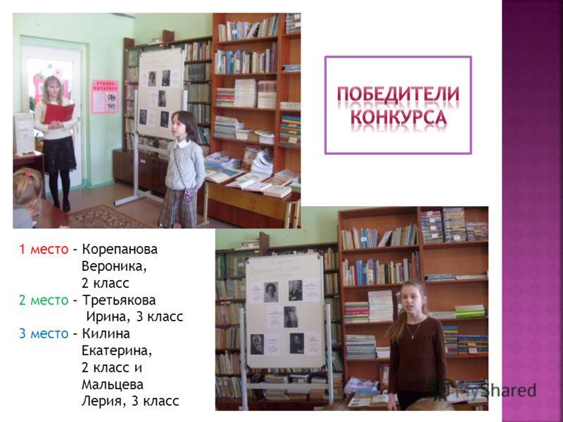 1 место – Корепанова Вероника, 2 класс 2 место – Третьякова Ирина, 3 класс 3 место – Килина Екатерина, 2 класс и Мальцева Лерия, 3 класс