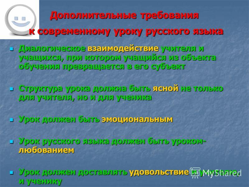 Дополнительные требования к современному уроку русского языка Диалогическое взаимодействие учителя и учащихся, при котором учащийся из объекта обучения превращается в его субъект Диалогическое взаимодействие учителя и учащихся, при котором учащийся и