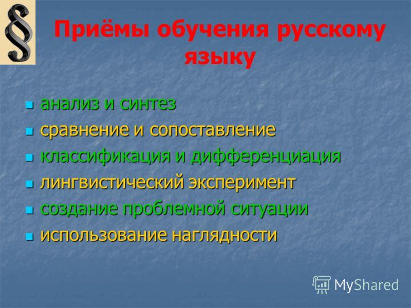 Приёмы обучения русскому языку анализ и синтез анализ и синтез сравнение и сопоставление сравнение и сопоставление классификация и дифференциация классификация и дифференциация лингвистический эксперимент лингвистический эксперимент создание проблемн