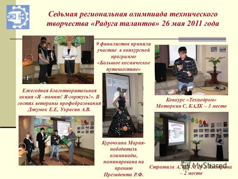 Седьмая региональная олимпиада технического творчества «Радуга талантов» 26 мая 2011 года 9 финалистов приняли участие в конкурсной программе «Большое космическое путешествие» Ежегодная благотворительная акция «Я –помню! Я-горжусь!». В гостях ветеран