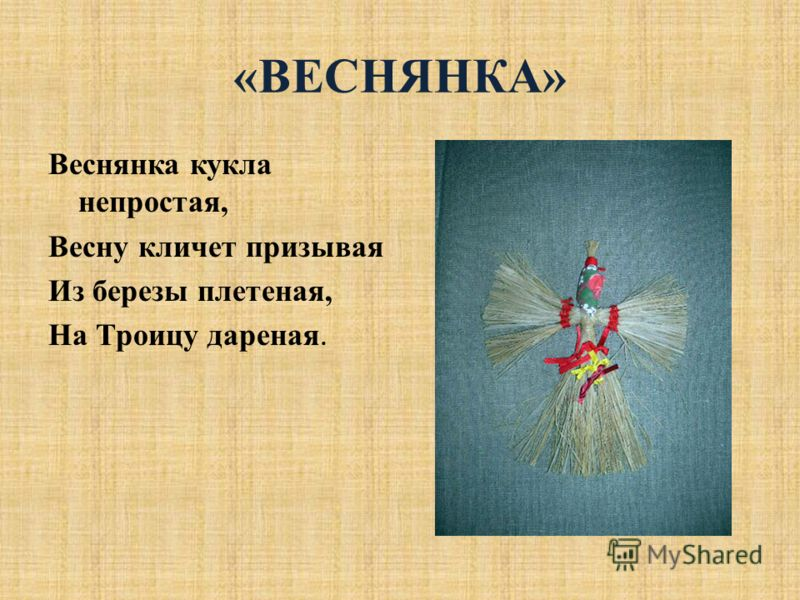 «ВЕСНЯНКА» Веснянка кукла непростая, Весну кличет призывая Из березы плетеная, На Троицу дареная.