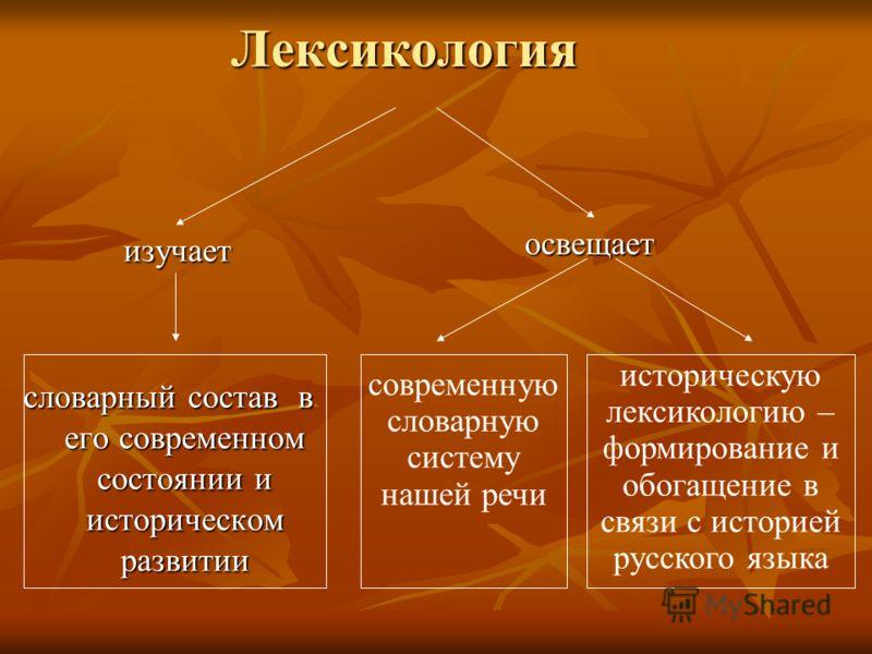 Лексикология Лексикология изучает изучает словарный состав в его современном состоянии и историческом развитии освещает освещает современную словарную систему нашей речи историческую лексикологию – формирование и обогащение в связи с историей русског